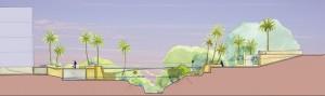 Coupe couleur, Agadir Maroc. Paysage ombragé pour un quartier en devenir
