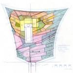 Chaumont-sur-Loire, Plan niveau massif 1-50 – dessin d'étude pour composition des niveaux du jardin